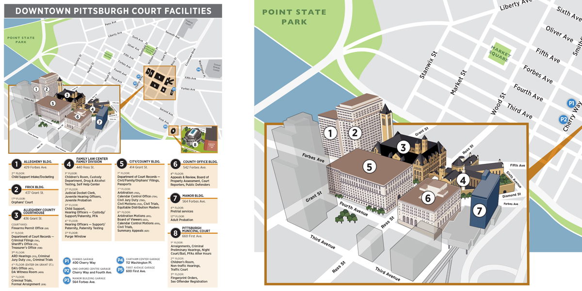 Pittsburgh Court Facilities map for the Allegheny Department of Human Services by Muffinman Studios