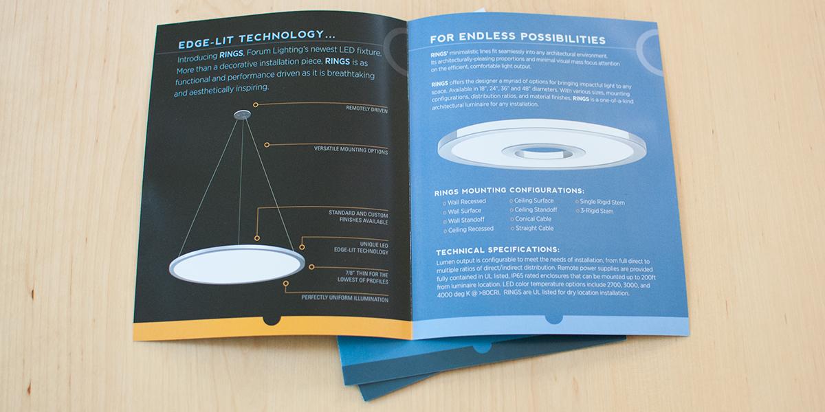 Forum Lighting's RINGS brochure by Muffinman Studios