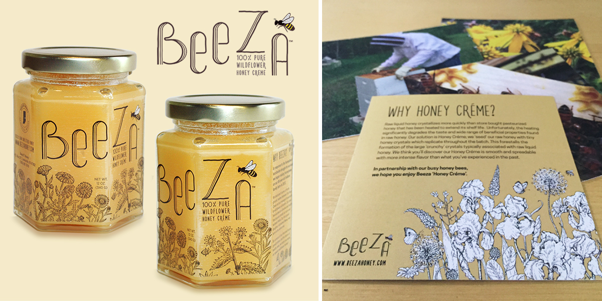 Beeza wildflower honey créme labels. » »