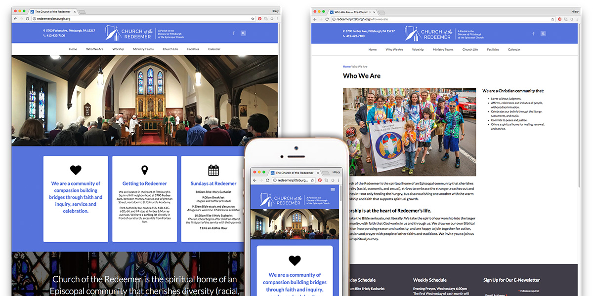 Church of the Redeemer website by Muffinman Studios