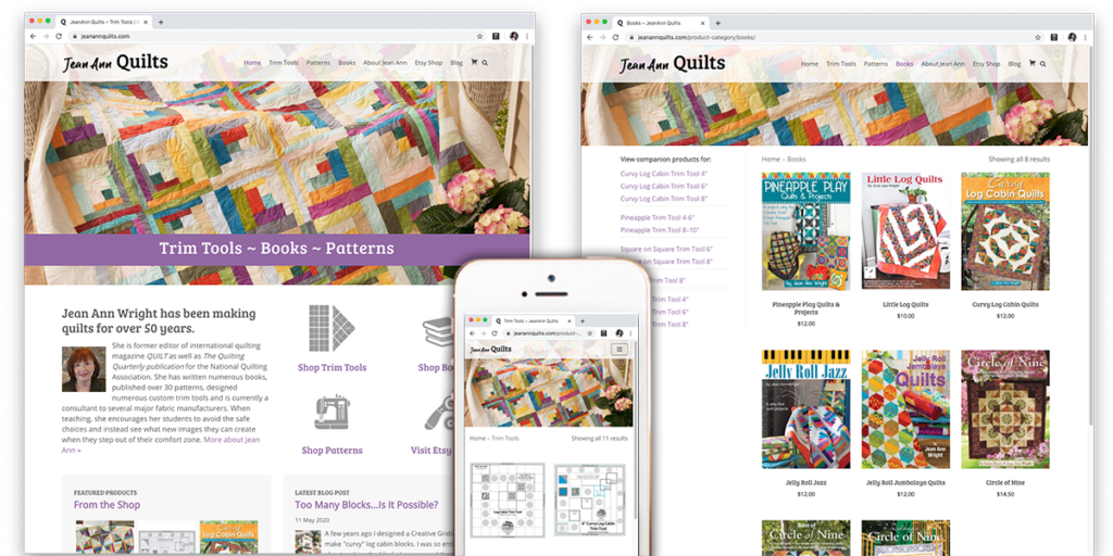 JeanAnn Quilts Website by Muffinman Studios